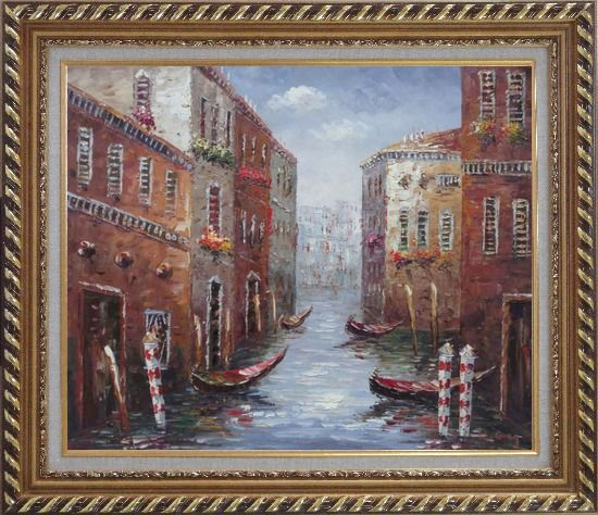 Framed Boat Docked on Canal of Venice, Italy Oil Painting Impressionism Exquisite Gold Wood Frame 26 x 30 Inches