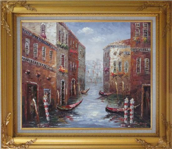 Framed Boat Docked on Canal of Venice, Italy Oil Painting Impressionism Gold Wood Frame with Deco Corners 27 x 31 Inches