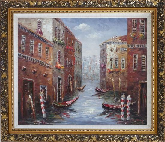 Framed Boat Docked on Canal of Venice, Italy Oil Painting Impressionism Ornate Antique Dark Gold Wood Frame 26 x 30 Inches