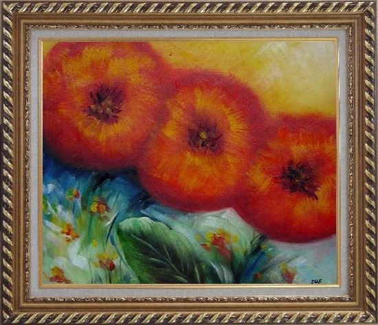 Framed Abstract Sunflower Oil painting Decorative Exquisite Gold Wood Frame 26 x 30 Inches