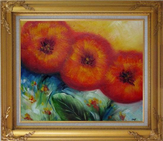 Framed Abstract Sunflower Oil painting Decorative Gold Wood Frame with Deco Corners 27 x 31 Inches