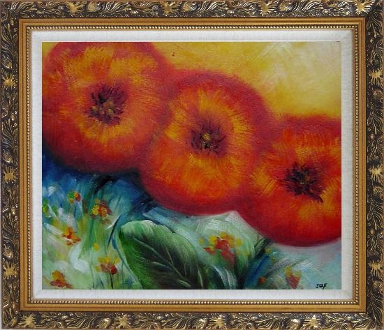 Framed Abstract Sunflower Oil painting Decorative Ornate Antique Dark Gold Wood Frame 26 x 30 Inches