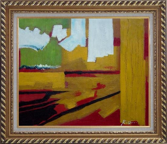 Framed Yellow, Red, Green and White Abstract Oil Painting Nonobjective Impressionism Exquisite Gold Wood Frame 26 x 30 Inches