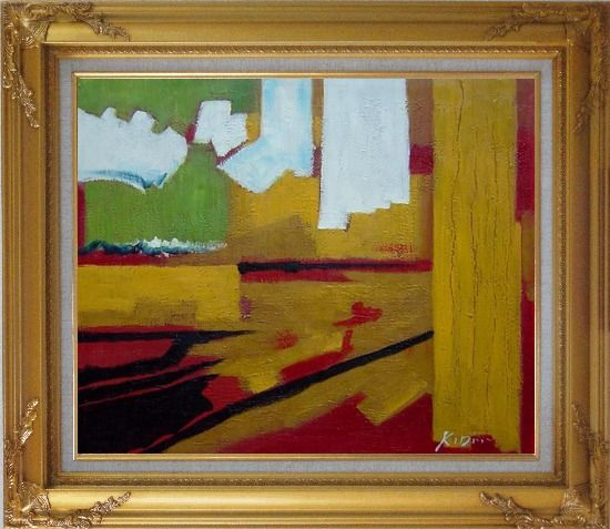 Framed Yellow, Red, Green and White Abstract Oil Painting Nonobjective Impressionism Gold Wood Frame with Deco Corners 27 x 31 Inches
