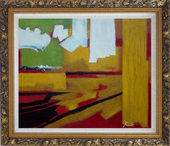 Framed Yellow, Red, Green and White Abstract Oil Painting Nonobjective Impressionism Ornate Antique Dark Gold Wood Frame 26 x 30 Inches