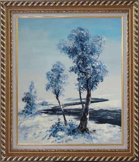 Framed A Winding River Passing through Snow Covered Landscape Oil Painting Tree Naturalism Exquisite Gold Wood Frame 30 x 26 Inches