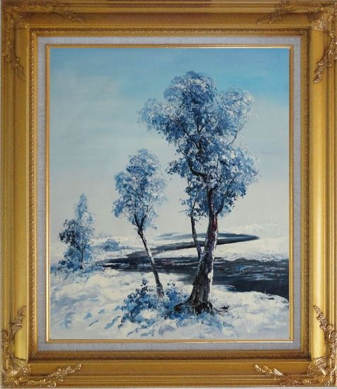 Framed A Winding River Passing through Snow Covered Landscape Oil Painting Tree Naturalism Gold Wood Frame with Deco Corners 31 x 27 Inches