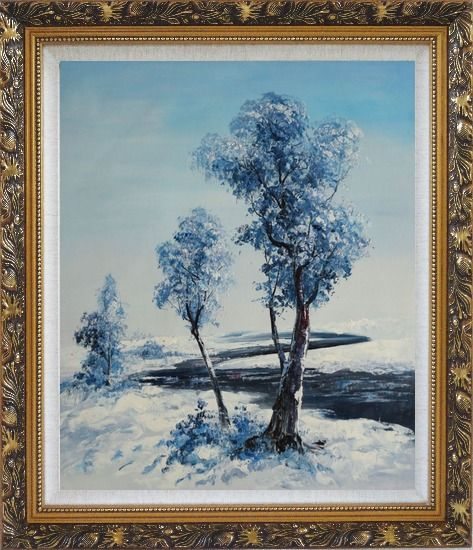 Framed A Winding River Passing through Snow Covered Landscape Oil Painting Tree Naturalism Ornate Antique Dark Gold Wood Frame 30 x 26 Inches