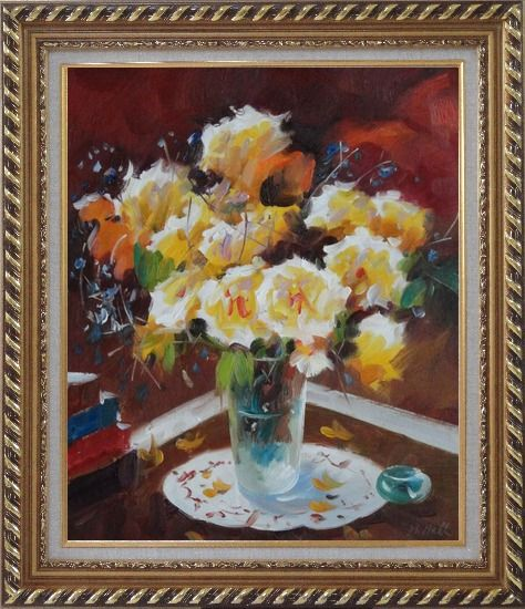 Framed Beautiful Yellow Roses in Vase on Table Oil Painting Flower Still Life Bouquet Impressionism Exquisite Gold Wood Frame 30 x 26 Inches