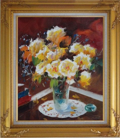 Framed Beautiful Yellow Roses in Vase on Table Oil Painting Flower Still Life Bouquet Impressionism Gold Wood Frame with Deco Corners 31 x 27 Inches