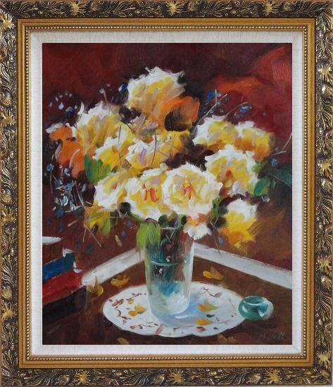 Framed Beautiful Yellow Roses in Vase on Table Oil Painting Flower Still Life Bouquet Impressionism Ornate Antique Dark Gold Wood Frame 30 x 26 Inches
