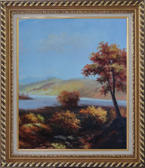 Framed Trees at Confluence of Two Rivers Oil Painting Landscape Naturalism Exquisite Gold Wood Frame 30 x 26 Inches