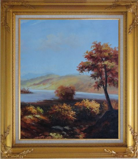 Framed Trees at Confluence of Two Rivers Oil Painting Landscape Naturalism Gold Wood Frame with Deco Corners 31 x 27 Inches