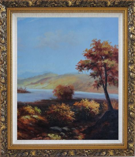 Framed Trees at Confluence of Two Rivers Oil Painting Landscape Naturalism Ornate Antique Dark Gold Wood Frame 30 x 26 Inches