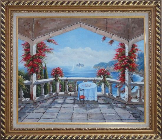 Framed Outlook of Mediterranean from a Patio with Red Flower Oil Painting Naturalism Exquisite Gold Wood Frame 26 x 30 Inches