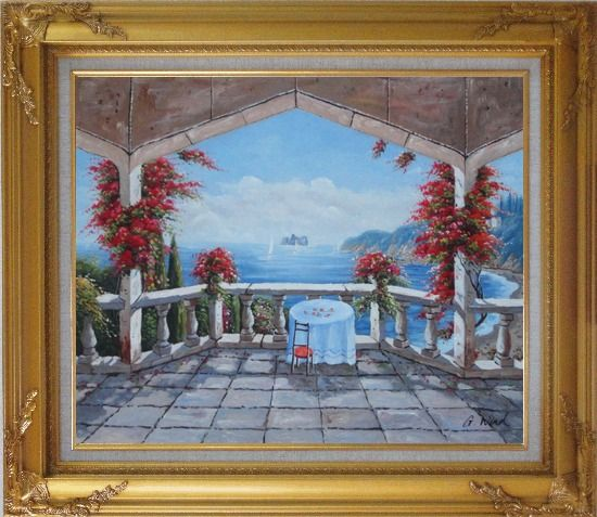 Framed Outlook of Mediterranean from a Patio with Red Flower Oil Painting Naturalism Gold Wood Frame with Deco Corners 27 x 31 Inches
