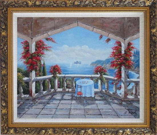 Framed Outlook of Mediterranean from a Patio with Red Flower Oil Painting Naturalism Ornate Antique Dark Gold Wood Frame 26 x 30 Inches