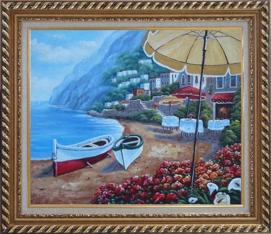 Framed Boats, Beachside Restaurant and Mountainside Red Roof Houses Oil Painting Mediterranean Naturalism Exquisite Gold Wood Frame 26 x 30 Inches