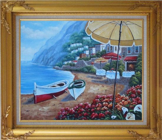Framed Boats, Beachside Restaurant and Mountainside Red Roof Houses Oil Painting Mediterranean Naturalism Gold Wood Frame with Deco Corners 27 x 31 Inches