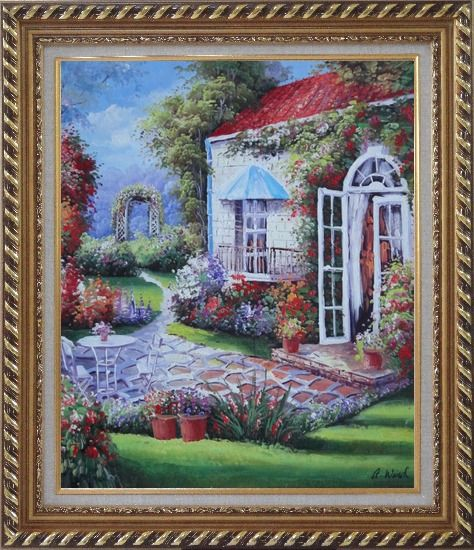Framed Gorgeous Backyard of Flower Garden in Spring Oil Painting Naturalism Exquisite Gold Wood Frame 30 x 26 Inches