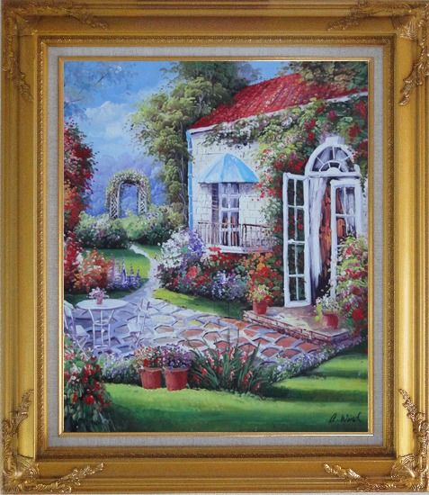 Framed Gorgeous Backyard of Flower Garden in Spring Oil Painting Naturalism Gold Wood Frame with Deco Corners 31 x 27 Inches