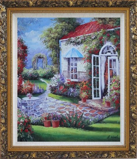 Framed Gorgeous Backyard of Flower Garden in Spring Oil Painting Naturalism Ornate Antique Dark Gold Wood Frame 30 x 26 Inches
