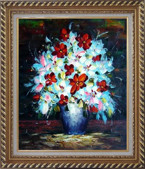Framed Knife Painted Red, White and Pink Flowers Oil Painting Still Life Bouquet Impressionism Exquisite Gold Wood Frame 30 x 26 Inches