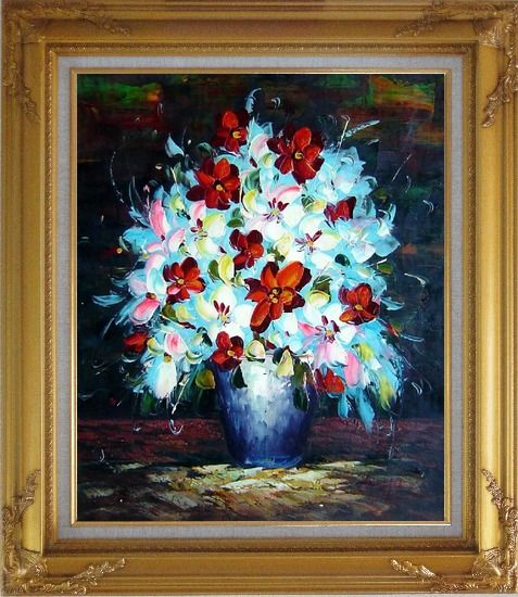 Framed Knife Painted Red, White and Pink Flowers Oil Painting Still Life Bouquet Impressionism Gold Wood Frame with Deco Corners 31 x 27 Inches