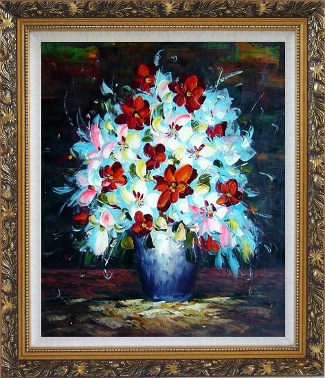Framed Knife Painted Red, White and Pink Flowers Oil Painting Still Life Bouquet Impressionism Ornate Antique Dark Gold Wood Frame 30 x 26 Inches