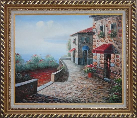 Framed Beachside Mediterranean Stone House Oil Painting Naturalism Exquisite Gold Wood Frame 26 x 30 Inches