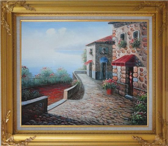 Framed Beachside Mediterranean Stone House Oil Painting Naturalism Gold Wood Frame with Deco Corners 27 x 31 Inches