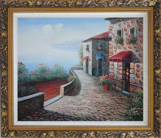 Framed Beachside Mediterranean Stone House Oil Painting Naturalism Ornate Antique Dark Gold Wood Frame 26 x 30 Inches