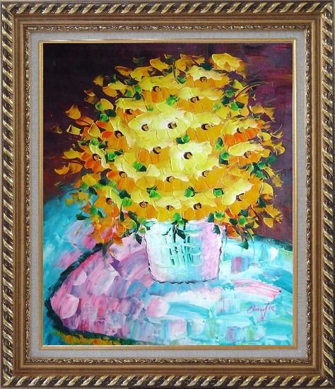 Framed Knife Painted Yellow Flowers Oil Painting Still Life Bouquet Impressionism Exquisite Gold Wood Frame 30 x 26 Inches