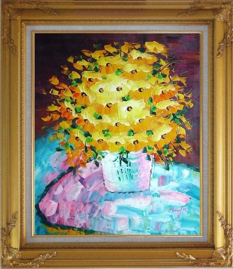 Framed Knife Painted Yellow Flowers Oil Painting Still Life Bouquet Impressionism Gold Wood Frame with Deco Corners 31 x 27 Inches