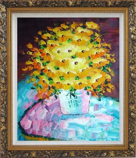 Framed Knife Painted Yellow Flowers Oil Painting Still Life Bouquet Impressionism Ornate Antique Dark Gold Wood Frame 30 x 26 Inches