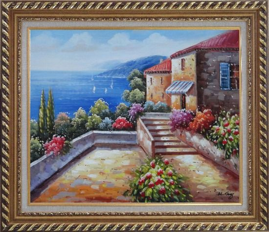 Framed Mediterranean House with Colorful Flowers Oil Painting Naturalism Exquisite Gold Wood Frame 26 x 30 Inches