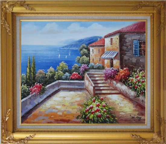Framed Mediterranean House with Colorful Flowers Oil Painting Naturalism Gold Wood Frame with Deco Corners 27 x 31 Inches