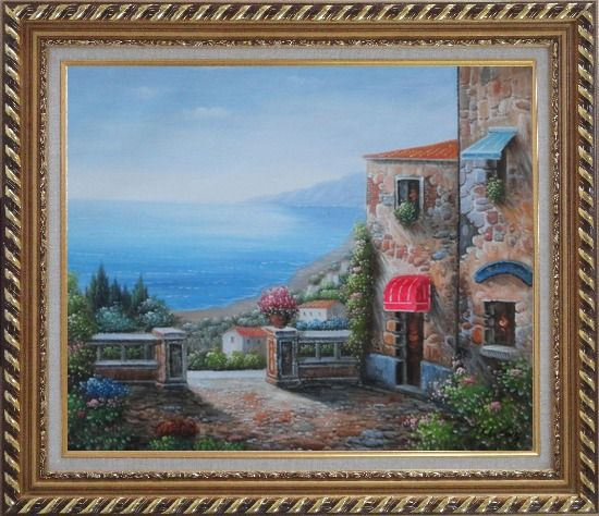 Framed Gate of A Mediterranean Stone House Oil Painting Naturalism Exquisite Gold Wood Frame 26 x 30 Inches