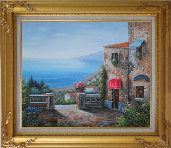 Framed Gate of A Mediterranean Stone House Oil Painting Naturalism Gold Wood Frame with Deco Corners 27 x 31 Inches