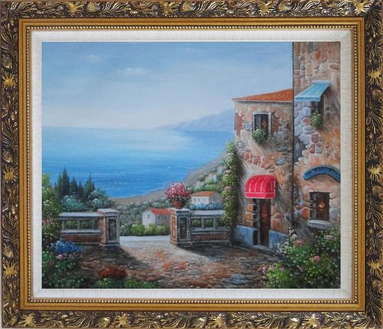 Framed Gate of A Mediterranean Stone House Oil Painting Naturalism Ornate Antique Dark Gold Wood Frame 26 x 30 Inches