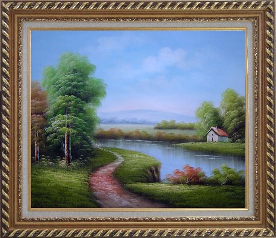 Framed Country Road Passing by a Small Pond Oil Painting Landscape River Classic Exquisite Gold Wood Frame 26 x 30 Inches