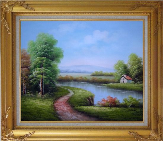 Framed Country Road Passing by a Small Pond Oil Painting Landscape River Classic Gold Wood Frame with Deco Corners 27 x 31 Inches