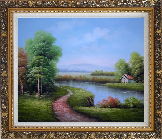 Framed Country Road Passing by a Small Pond Oil Painting Landscape River Classic Ornate Antique Dark Gold Wood Frame 26 x 30 Inches