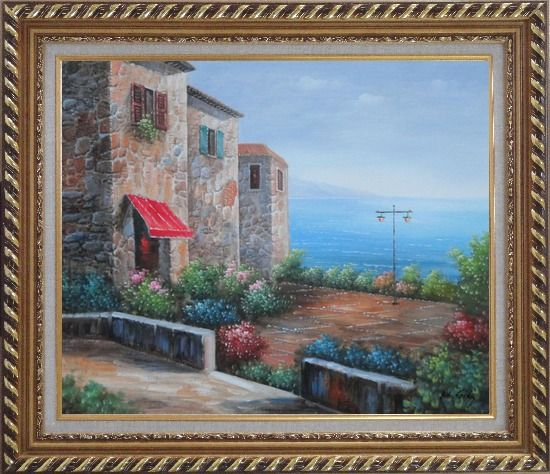 Framed Patio of Stone House at Mediterranean Oil Painting Naturalism Exquisite Gold Wood Frame 26 x 30 Inches