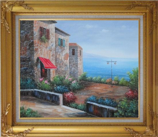 Framed Patio of Stone House at Mediterranean Oil Painting Naturalism Gold Wood Frame with Deco Corners 27 x 31 Inches