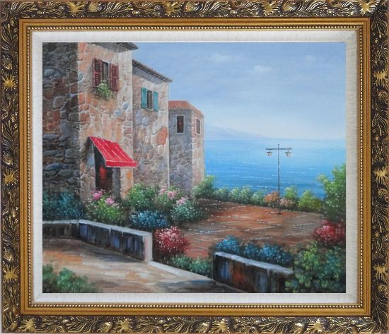 Framed Patio of Stone House at Mediterranean Oil Painting Naturalism Ornate Antique Dark Gold Wood Frame 26 x 30 Inches