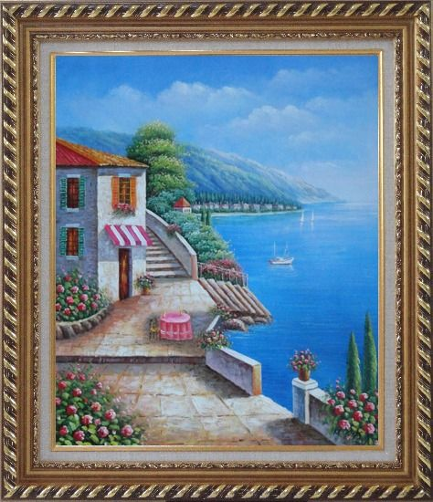 Framed Morning of Mediterranean Ocean View Oil Painting Naturalism Exquisite Gold Wood Frame 30 x 26 Inches