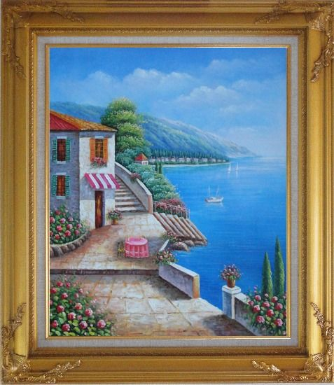 Framed Morning of Mediterranean Ocean View Oil Painting Naturalism Gold Wood Frame with Deco Corners 31 x 27 Inches