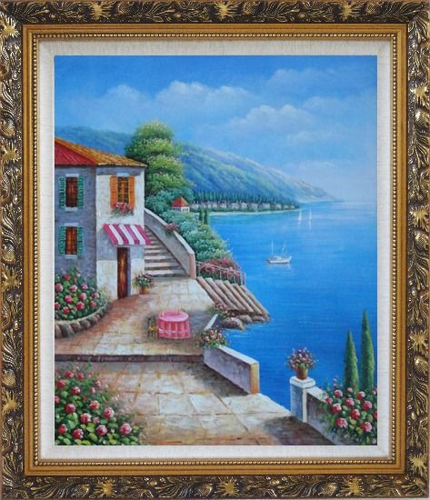 Framed Morning of Mediterranean Ocean View Oil Painting Naturalism Ornate Antique Dark Gold Wood Frame 30 x 26 Inches