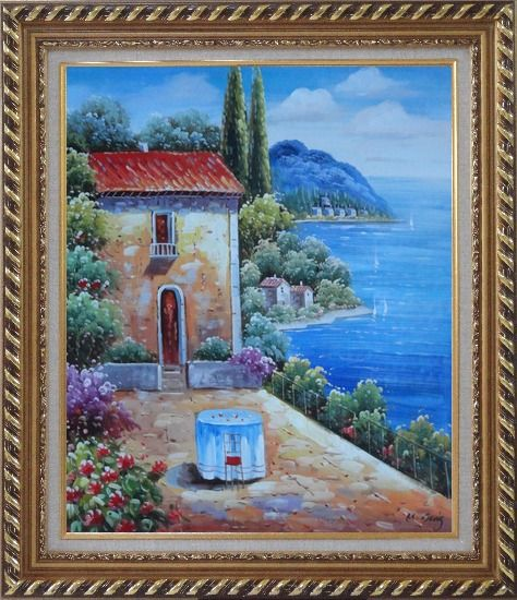 Framed Fresh Sunday Morning of Mediterranean Sesascape Oil Painting Naturalism Exquisite Gold Wood Frame 30 x 26 Inches